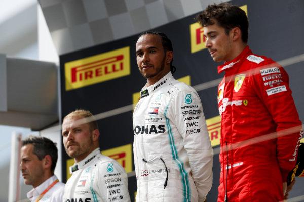 Race Winner Lewis Hamilton, Mercedes AMG F1, Valtteri Bottas, Mercedes AMG F1 and Charles Leclerc, Ferrari on the podium