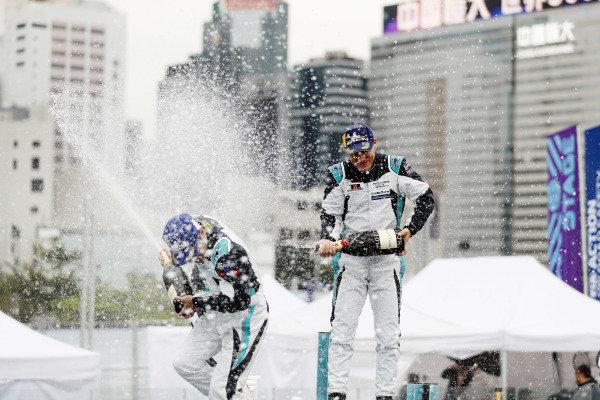 PRO class winner Bryan Sellers (USA), Rahal Letterman Lanigan Racing celebrates with PRO AM class winnerYaqi Zhang (CHI), Team China