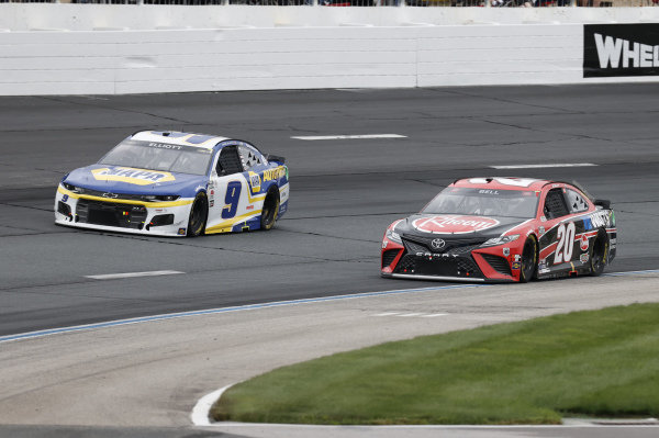 #20: Christopher Bell, Joe Gibbs Racing, Toyota Camry Rheem/Watts, #9: Chase Elliott, Hendrick Motorsports, Chevrolet Camaro NAPA Auto Parts
