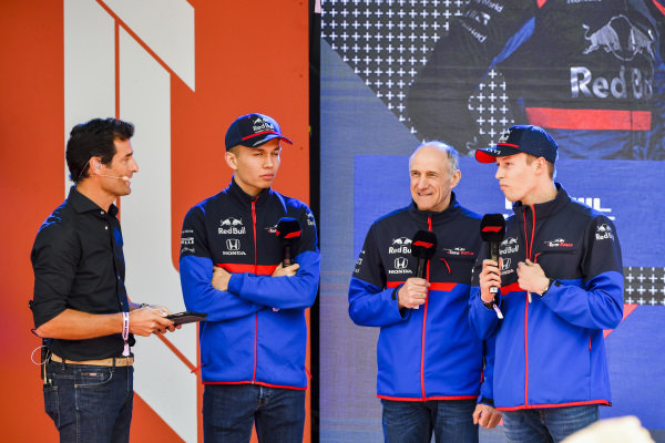 Mark Webber, Alexander Albon, Scuderia Toro Rosso, Franz Tost, Team Principal, Toro Rosso and Daniil Kvyat, Toro Rosso at the Federation Square event