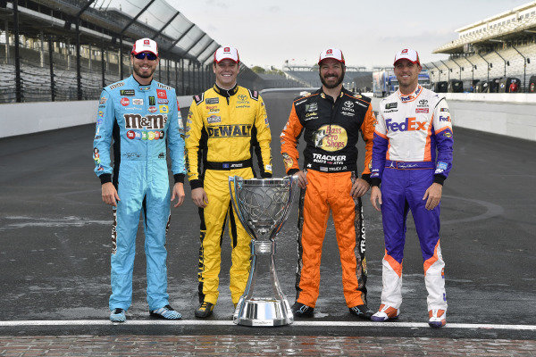 #18: Kyle Busch, Joe Gibbs Racing, Toyota Camry M&M's, #20: Erik Jones, Joe Gibbs Racing, Toyota Camry STANLEY, #19: Martin Truex Jr., Joe Gibbs Racing, Toyota Camry AOI and #11: Denny Hamlin, Joe Gibbs Racing, Toyota Camry FedEx Express