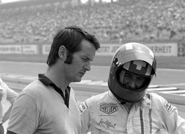 Robin Herd(GBR) March designer and co-founder, left with Jo Siffert(SUI)