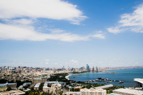 Baku City Circuit, Baku, Azerbaijan. Wednesday 21 June 2017. A view of the city from Dagustu (Upland) Park. World Copyright: Zak Mauger/LAT Images ref: Digital Image _56I5972-2