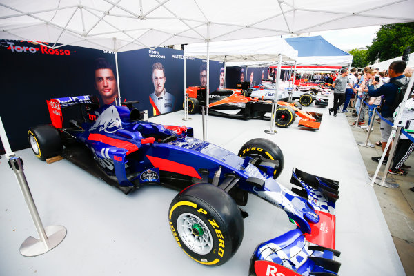 London, United Kingdom.  Wednesday 12 July 2017. The Toro Rosso STR12 Renault on the teams stand. World Copyright: Andy Hone/LAT Images  ref: Digital Image _ONZ1697