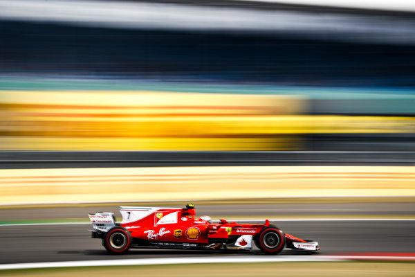 Silverstone, Northamptonshire, UK.  Friday 14 July 2017. Kimi Raikkonen, Ferrari SF70H. World Copyright: Glenn Dunbar/LAT Images  ref: Digital Image _31I3099
