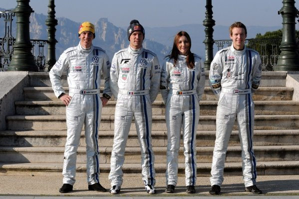The VW team, (L to R): Julien Ingrassia (FRA), Sebastien Ogier (FRA), Lara Vanneste (BEL) and Kevin Abring (NED). FIA World Rally Championship, Rd1, Rallye Monte-Carlo, Monaco, Shakedown, Tuesday 17 January 2012.