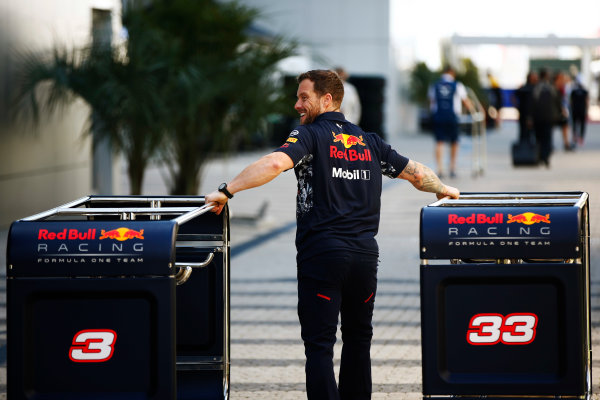 Sochi Autodrom, Sochi, Russia. Thursday 27 April 2017. A Red Bull team member wheels crates through the paddock. World Copyright: Andy Hone/LAT Images ref: Digital Image _ONY8653
