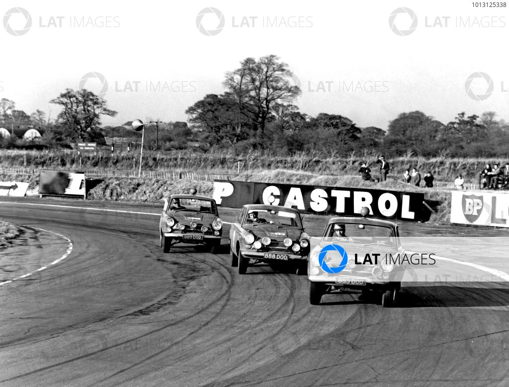 1964 RAC Rally of Great Britain.Oulton Park, Cheshire, England. 8th - 15th November 2007.Vic Elford/David Stone, Ford Cortina GT, 3rd position, leads team mates Henry Taylor/Brian Melica, Ford Cortina GT and David Seige-Morris/Tony Nash, Ford Cortina GT, 9th position, action.World Copyright: LAT Photographic.