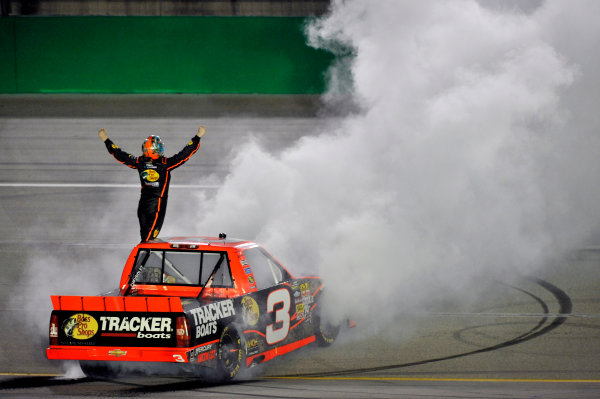 27 June, 2013, Sparta, Kentucky USA Ty Dillon celebrates his win with a burnout ©2013, Nigel Kinrade LAT Photo USA