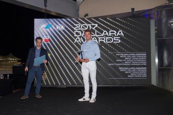 2017 Awards Evening. Yas Marina Circuit, Abu Dhabi, United Arab Emirates. Sunday 26 November 2017. Dorian Boccolacci (FRA, Trident).  Photo: Zak Mauger/FIA Formula 2/GP3 Series. ref: Digital Image _X0W0201