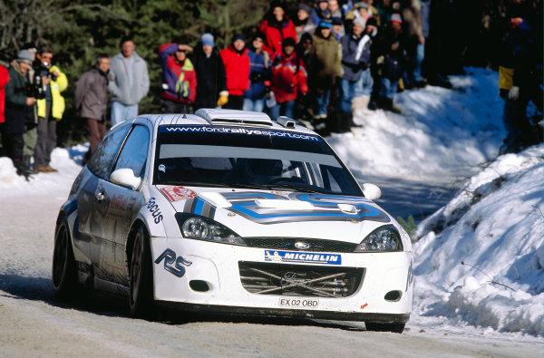 2003 FIA World Rally Championship. Monte Carlo, Monaco. Rd1.23-26 January 2003.Markko Martin/Michael Park (Ford Focus RS WRC '02) 4th position. World Copyright: McKlein/LAT Photographicref: 35mm Image A38