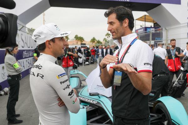 Mitch Evans (NZL), Panasonic Jaguar Racing, Jaguar I-Type 4 talks to Mark Webber,Tag Heuer Porsche Ambassador