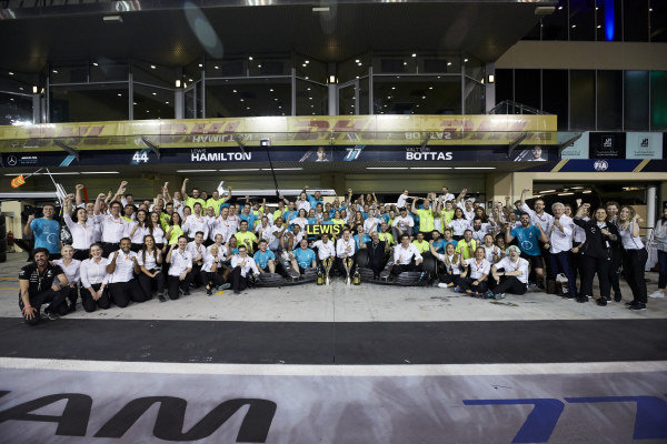 Lewis Hamilton, Mercedes AMG F1, Valtteri Bottas, Mercedes AMG F1, Toto Wolff, Executive Director (Business), Mercedes AMG, and the entire Mercedes team at the track celebrate victory in the race and the Championships