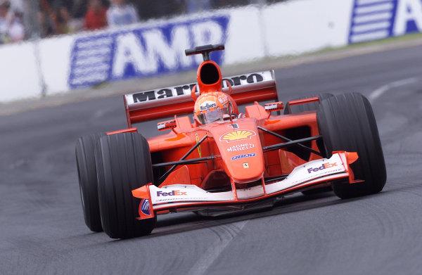 Australian Grand Prix.Albert Park, Melbourne, Australia. 2-4 March 2001.Michael Schumacher (Ferrari F2001) 1st position.World Copyright - Steve Etherington/LAT Photographicref: 18MB Digital Image