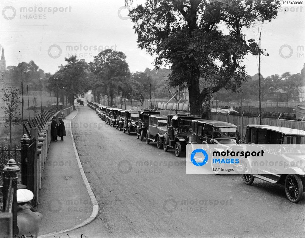 Cars parked at the Wimbledon tennis tournament, Church Road, Wimbledon
