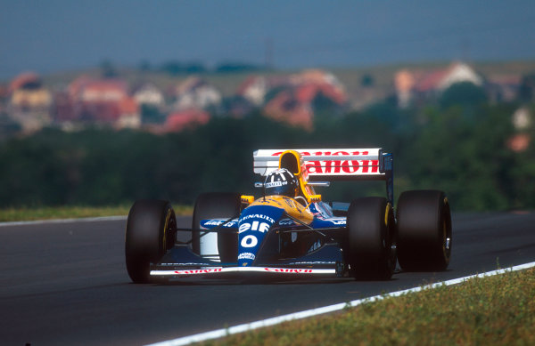 1993 Hungarian Grand Prix.Hungaroring, Budapest, Hungary.13-15 August 1993.Damon Hill (Williams FW15C Renault) 1st position for his maiden Grand Prix win.Ref-93 HUN 07.World Copyright - LAT Photographic
