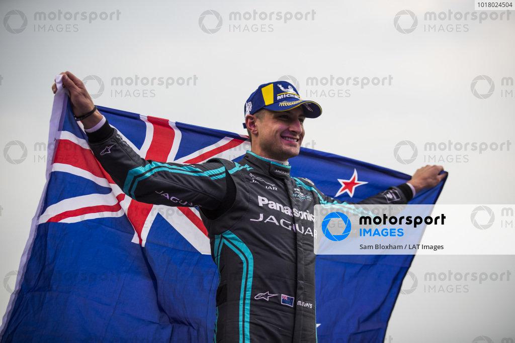 Race winner Mitch Evans (NZL), Panasonic Jaguar Racing on the podium