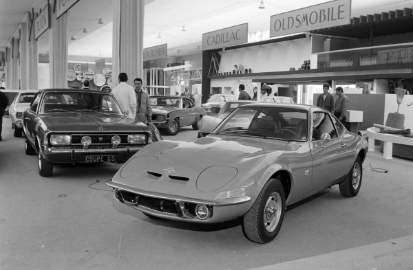 Opel GT (Front) and Rekord coupe (behind) with other General Motors models.