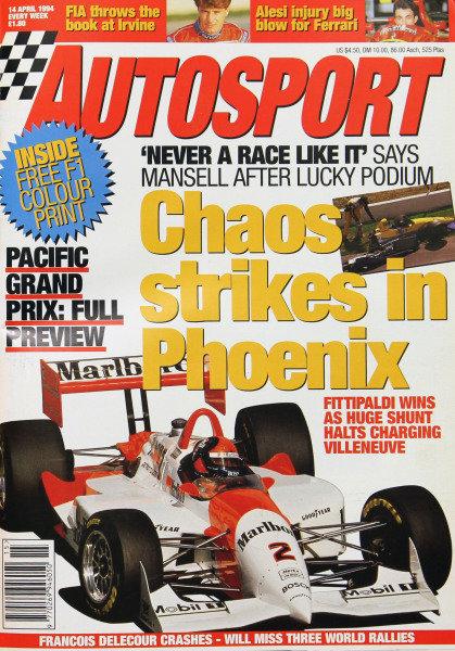 Cover of Autosport magazine, 14th April 1994