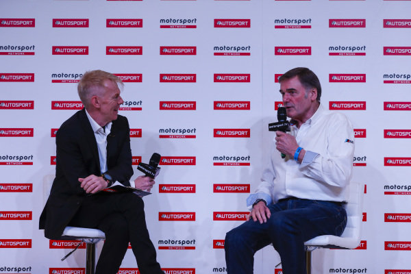 Dick Bennetts of West Surrey Racing talks to Alan Hyde on the Autosport Stage.