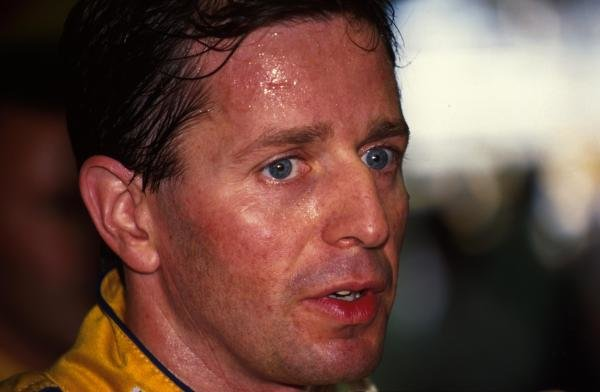 Martin Brundle shows the heat after finishing 4th. German Grand Prix, Hockenheim, 26 July 1992