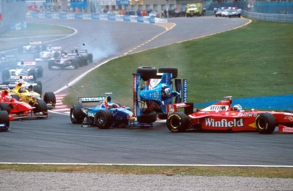 Alexander Wurz (AUT) Benetton Playlife B198 has a big crash at the first corner rolling his car. Formula One World Championship, Canadian Grand Prix, Montreal, Canada, 7 June 1998.