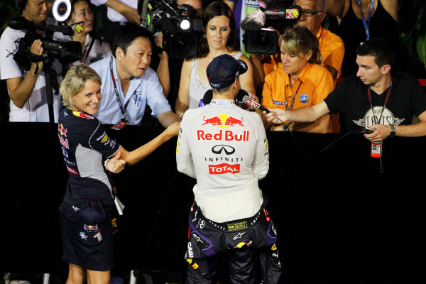 Marina Bay Circuit, Singapore. Sunday 22nd September 2013.  Sebastian Vettel, Red Bull Racing, is interviewed by the media.  World Copyright: Jed Leicester/LAT Photographic. ref: Digital Image _JEL3199