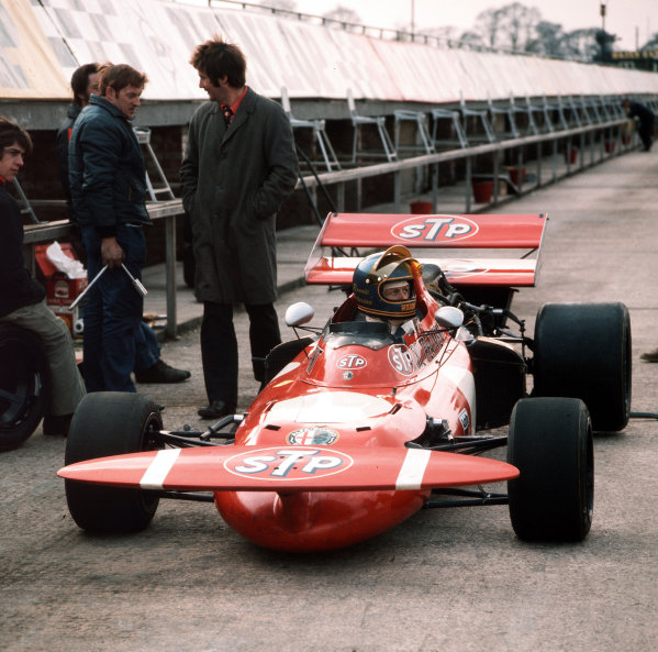 Silverstone, England. Ronnie Peterson (March 711-Alfa Romeo), in the pit lane at the launch, portrait.  Ref-3/4446D. World Copyright - LAT Photographic