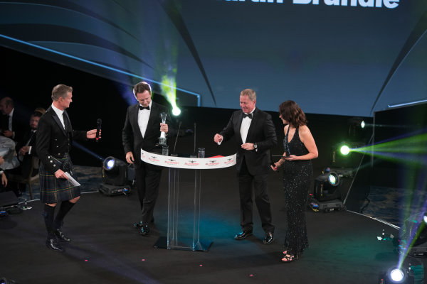 2017 Autosport Awards Grosvenor House Hotel, Park Lane, London. Sunday 3 December 2017. Christian Horner and Martin Brundle on stage with Presenters Lee McKenzie and David Coulthard. World Copyright: Joe Portlock/LAT Images  ref: Digital Image _R3I5751