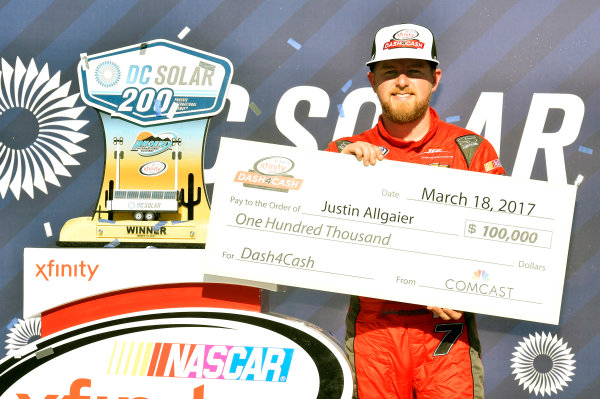 2017 NASCAR Xfinity Series DC Solar 200 Phoenix International Raceway, Avondale, AZ USA Saturday 18 March 2017 Justin Allgaier celebrates his win in Victory Lane World Copyright: Nigel Kinrade/LAT Images ref: Digital Image 17PHX1nk06490