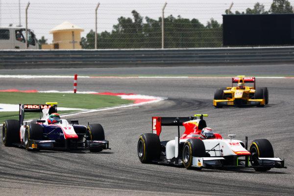 2017 FIA Formula 2 Round 1. Bahrain International Circuit, Sakhir, Bahrain.  Saturday 15 April 2017. Stefano Coletti (MON, Campos Racing) leads Sergio Canamasas (ESP, Trident)  Photo: Zak Mauger/FIA Formula 2. ref: Digital Image _W6I0286