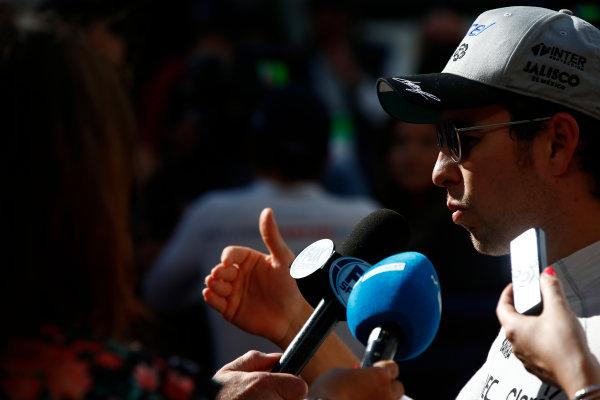 Sochi Autodrom, Sochi, Russia. Saturday 29 April 2017. Sergio Perez, Force India.  World Copyright: Hone/LAT Images ref: Digital Image _ONZ1208