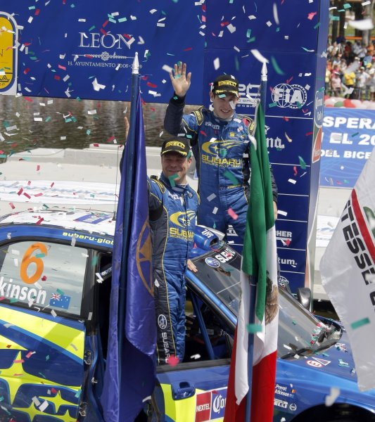 2008 FIA World Rally ChampionshipRound 03Rally Mexico28 February-2 March 2008Chris Atkinson, Subaru, Podium.Worldwide Copyright: McKlein/LAT
