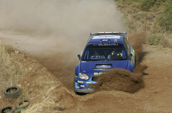 2005 FIA World Rally Champs. Round eightAcropolis Rally 23rd - 26th June 2005 Petter Solberg, Subaru, Action World Copyright: McKlein/LAT