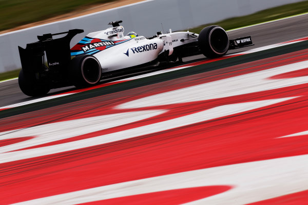 Circuit de Catalunya, Barcelona, Spain.  Wednesday 18 May 2016.  Felipe Massa, Williams FW38 Mercedes, tests a development rear wing and aero parts.  World Copyright: Sam Bloxham/LAT Photographic ref: Digital Image _R6T1973