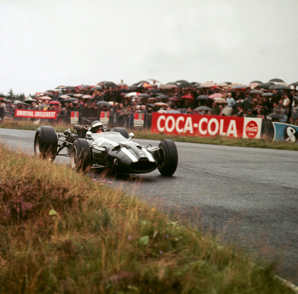 Nurburgring, Germany.5-7 August 1966.Jochen Rindt (Cooper T81 Maserati) 3rd position, action.Ref-3/2415.World Copyright - LAT Photographic