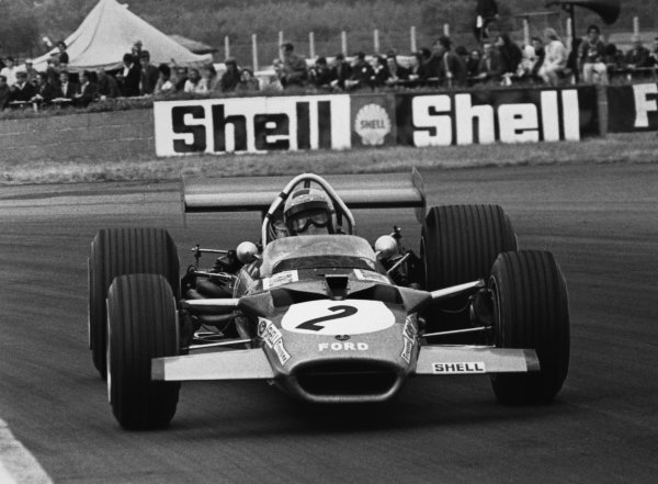 Silverstone, Great Britain. 19 July 1969.Jochen Rindt, Lotus 49B-Ford, 4th position, action.World Copyright: LAT PhotographicRef: b&w print
