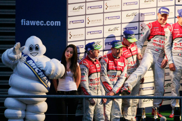 Spa Francorchamps, 3rd-5th May 2012, Podium with Audi drivers and Michelin man.  World Copyright: Jakob Ebrey/LAT Photographic