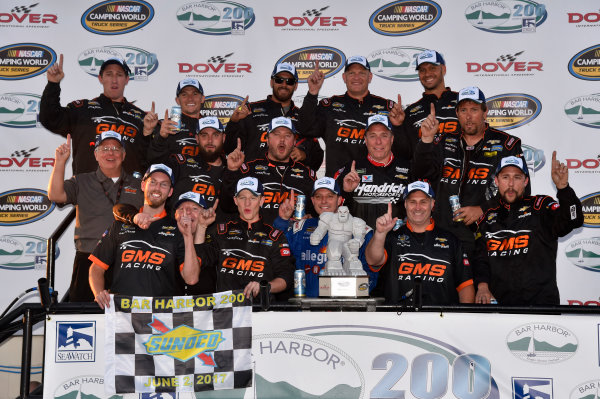 NASCAR Camping World Truck Series Bar Harbor 200 Dover International Speedway, Dover, DE USA Friday 2 June 2017 Johnny Sauter, Allegiant Airlines Chevrolet Silverado celebrates his win in Victory Lane World Copyright: Nigel Kinrade LAT Images ref: Digital Image 17DOV1nk06866