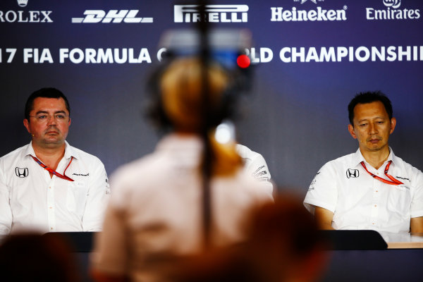 Red Bull Ring, Spielberg, Austria. Friday 07 July 2017. Eric Boullier, Racing Director, McLaren, and Yusuke Hasegawa, Senior Managing Officer, Honda, are filmed in the Friday press conference. World Copyright: Andy Hone/LAT Images ref: Digital Image _ONY0019