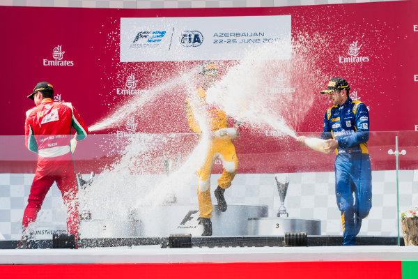 2017 FIA Formula 2 Round 4. Baku City Circuit, Baku, Azerbaijan. Sunday 25 June 2017. Charles Leclerc (MCO, PREMA Racing), Norman Nato (FRA, Pertamina Arden), Nicholas Latifi (CAN, DAMS) ] Photo: Zak Mauger/FIA Formula 2. ref: Digital Image _56I8648