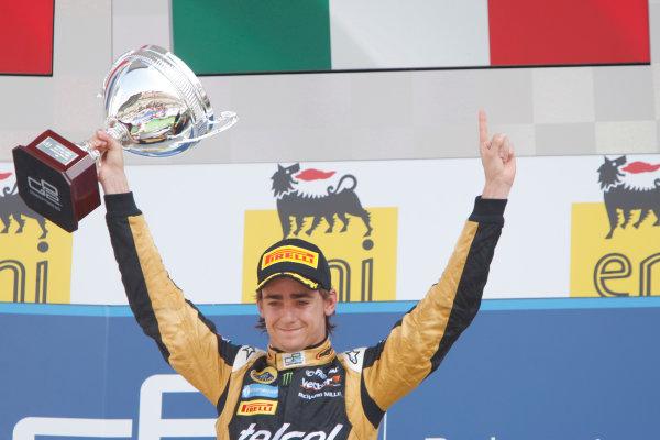 Hungaroring, Budapest, Hungary. 29th July 2012.Sunday Race.Esteban Gutierrez (MEX, Lotus GP) celebrates his victory on the podium. World Copyright: Alastair Staley/GP2 Media Serviceref: Digital Image _O9T4928.jpg