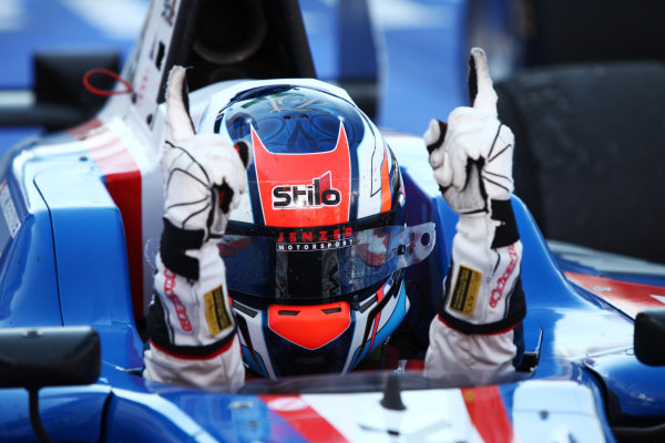 2012 GP3 Series, Round 3.Valencia, Spain. 24th June 2012. Sunday Race 2. Patric Niederhauser (SUI, Jenzer Motorsport) celebrates in parc ferme. Portrait. World Copyright:  Daniel Kalisz/LAT Photographic Ref: Digital Image IMG_2069