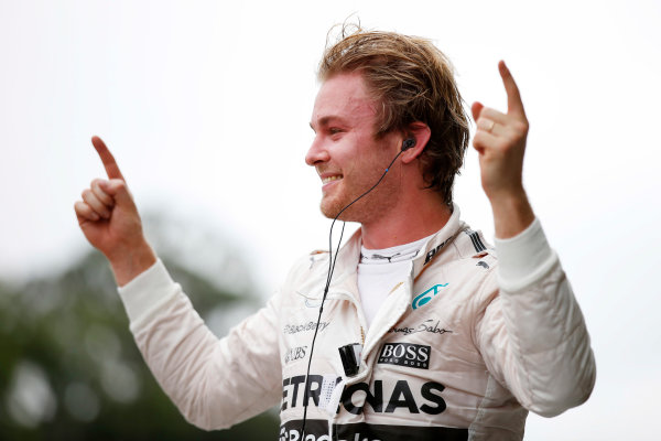 Interlagos, Sao Paulo, Brazil. Sunday 15 November 2015. Nico Rosberg, Mercedes AMG, 1st Position, celebrates in Parc Ferme. World Copyright: Steven Tee/LAT Photographic ref: Digital Image _L4R4189