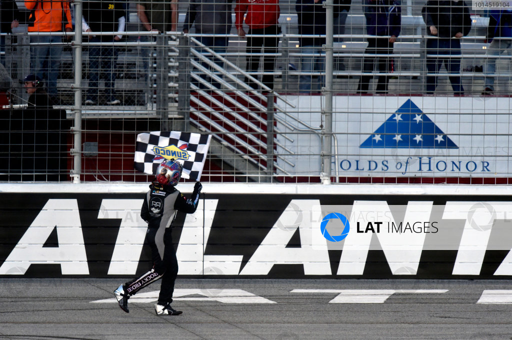 26-27 February 2016, Hampton, Georgia USA John Hunter Nemechek celebrates his win with a burnout ? 2016, Nigel Kinrade LAT Photo USA