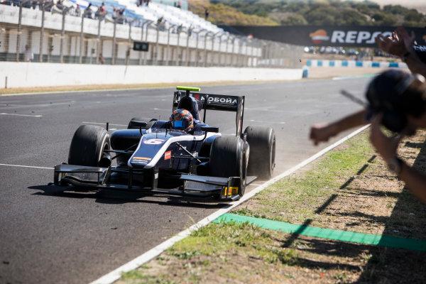 2017 FIA Formula 2 Round 10. Circuito de Jerez, Jerez, Spain. Sunday 8 October 2017. Artem Markelov (RUS, RUSSIAN TIME) wins the race. Photo: Andrew Ferraro/FIA Formula 2. ref: Digital Image _FER3636