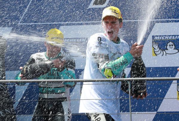 2017 Moto3 Championship - Round 16 Phillip Island, Australia. Sunday 22 October 2017 Podium: race winner Joan Mir, Leopard Racing World Copyright: Gold and Goose / LAT Images ref: Digital Image 24364