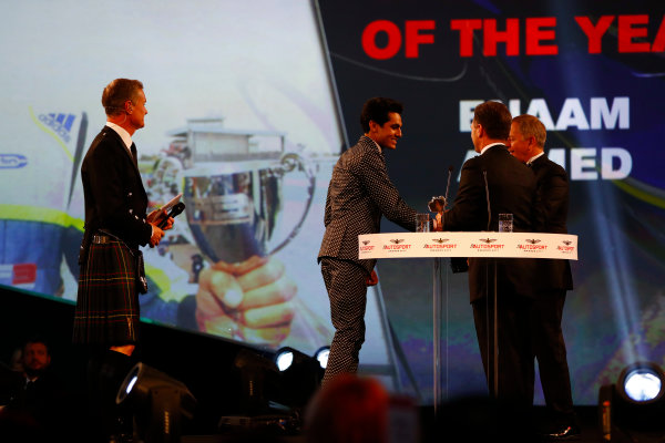 2017 Autosport Awards Grosvenor House Hotel, Park Lane, London. Sunday 3 December 2017. Enaam Ahmed receives an Award from Christian Horner and Martin Brundle. World Copyright: /LAT Images Ref: Digital Image _o3i6589