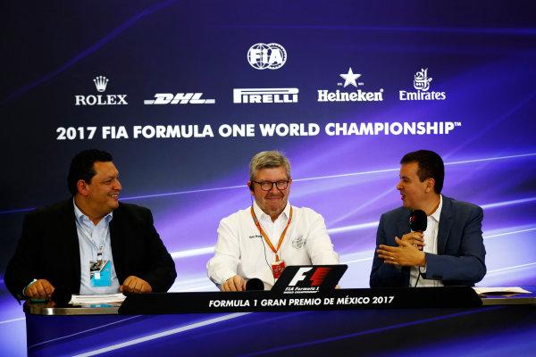 Autodromo Hermanos Rodriguez, Mexico City, Mexico. Thursday 26 October 2017. Ross Brawn, Managing Director of Motorsports, FOM, attends a press conference. World Copyright: Sam Bloxham/LAT Images  ref: Digital Image _W6I9070