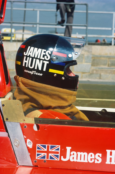 Silverstone, Great Britain. 11th April 1976. James Hunt (McLaren M23-Cosworth), 1st position, in the pit lane before the race, portrait.  World Copyright: LAT Photographic.  Ref:  76 INT 06.